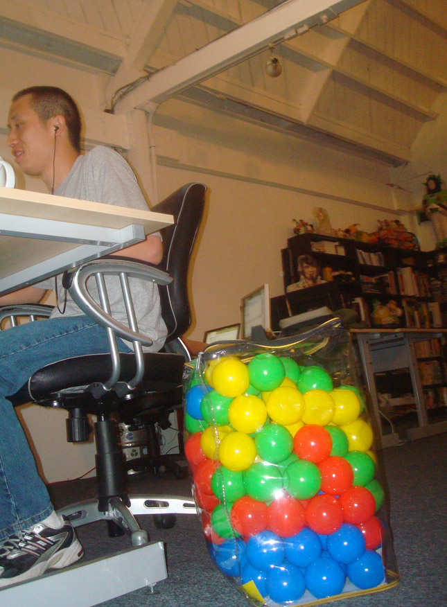 alternate blog titles: no ball in the house, going ballistic, free for ball, we've got balls